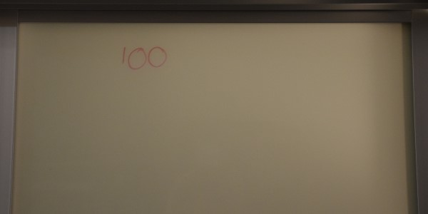 100 on whiteboard