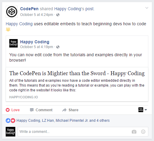 CodePen sharing HappyCoding.io