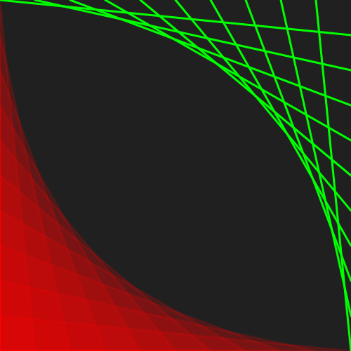 red curved grid