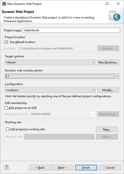 New Project settings dialog