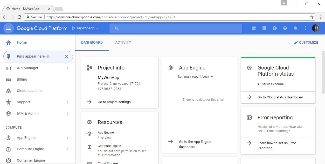 Hosting on google app engine happy coding google cloud platform dashboard baditri Choice Image